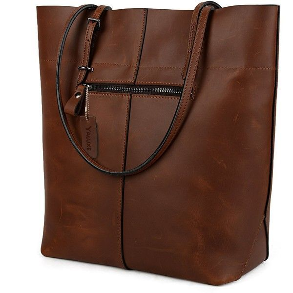 7b2b1946199e YALUXE Women's Vintage Style Crazy Horse Leather Work Tote Shoulder ...