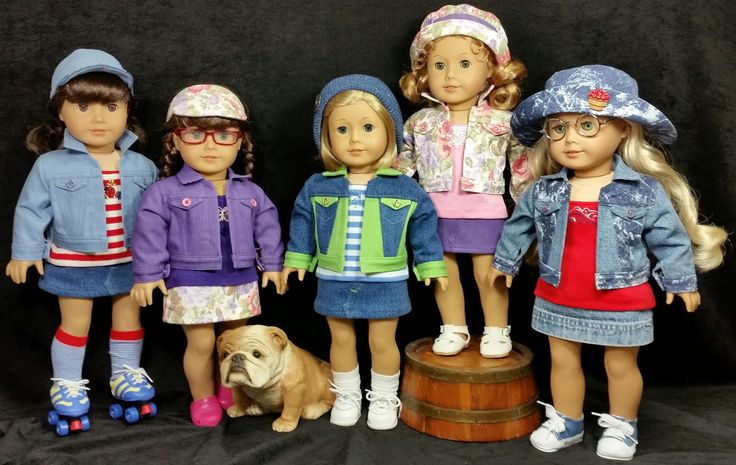 """Back to School Outfits - Jean jackets, knit """"strappy"""" tops, mini skirts, and hats. Sewn by Shirley Fomby - Doll Clothes by Shirley. SOLD"""