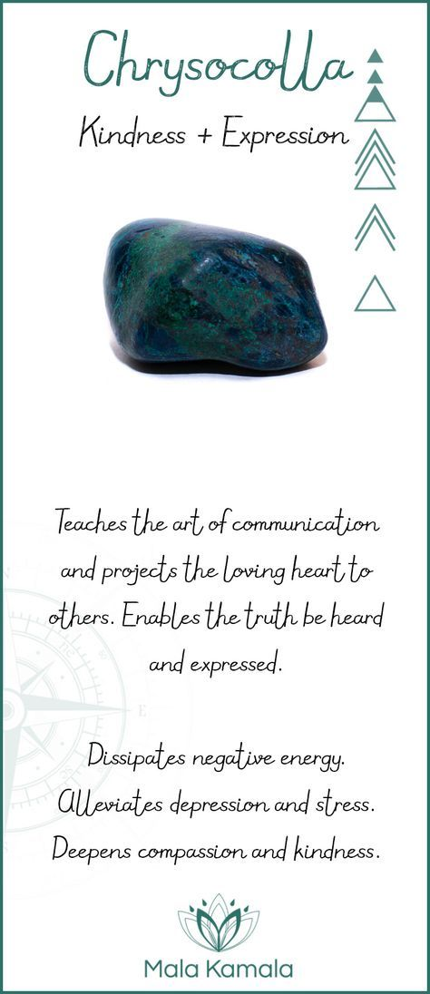 The chrysocolla stone is for kindness and expression. Great for cramps and more!