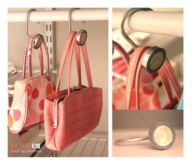 purse hangers using pretty shower curtain hooks