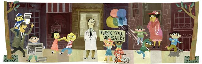 "It's Jonas Salk's 100th Birthday! (10-28-14) Google has shared a Doodle, article, and news reel video clip as a tribute.  One of my students has a grandpa who was one of the ""Polio Pioneers"" mentioned in this article. This will be fun to share in class today.  #GRAGoldfish #GRA14 #salk"