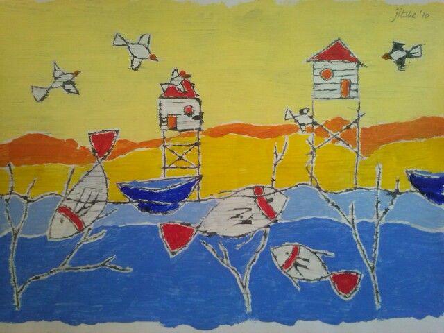 Beachhouses- mixed media illustration- by Jitske Jacobs