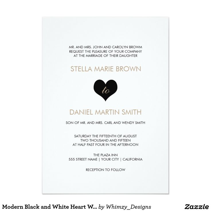 322 best wedding invitations images on pinterest zazzle modern black and white heart wedding invitation stopboris Gallery