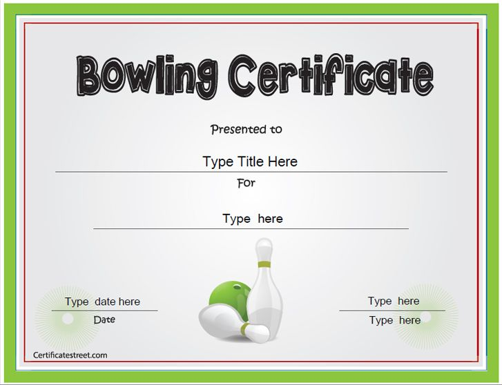 7 best bowling award templates images on pinterest bowling sports certificate bowling award certificate certificatestreet yadclub Images