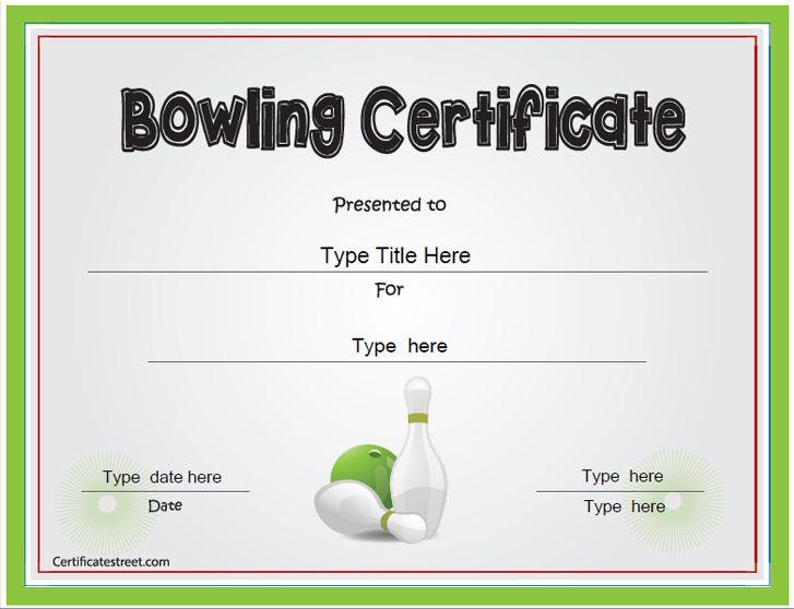 Sports Certificate - Bowling Award Certificate ...