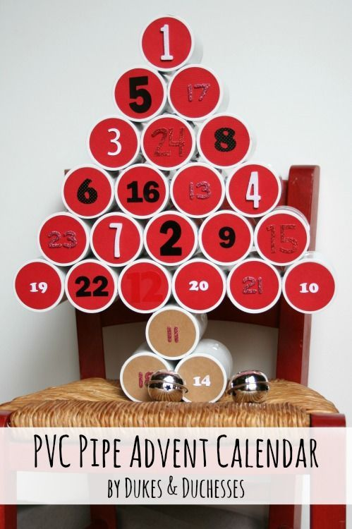 an advent calendar made from PVC pipe