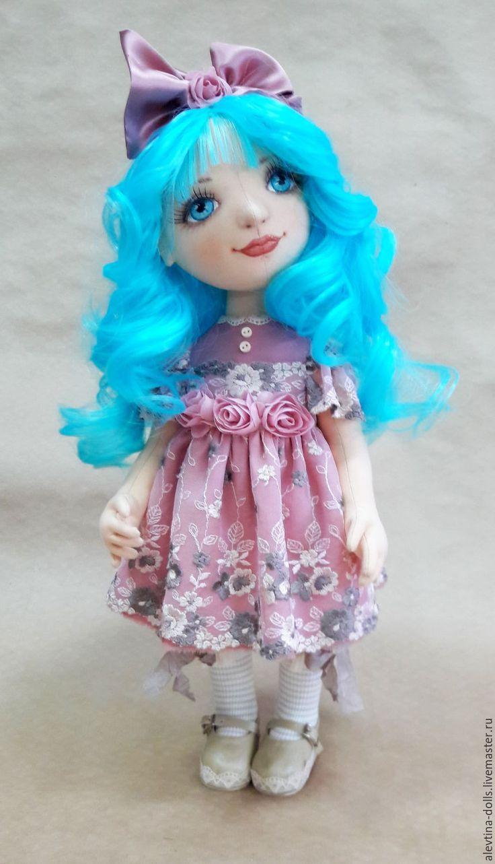 Купить Авторская текстильная кукла Мальвина - бледно-розовый, пыльная роза, мальвина, буратино