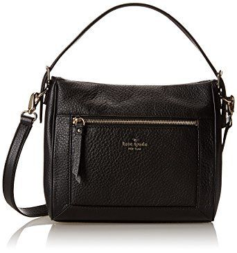 This Kate Spade New York Cobble Hill Little Harris Satchel Bag in black is made from 100% pebbled leather featuring framed front pocket seams and logo hardware.