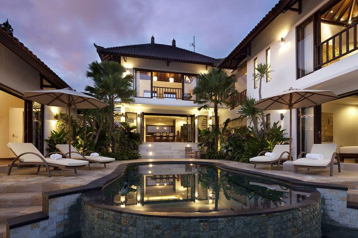 Night Shot of the 3 bedroom villa at Canggu Terrace Bali