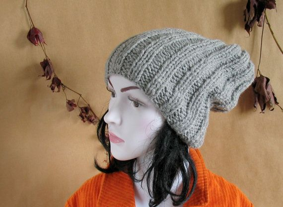 Ribbed knit hat - knitted gray hat - unisex knit hat - knitted ski hat - knit gray marble hat...