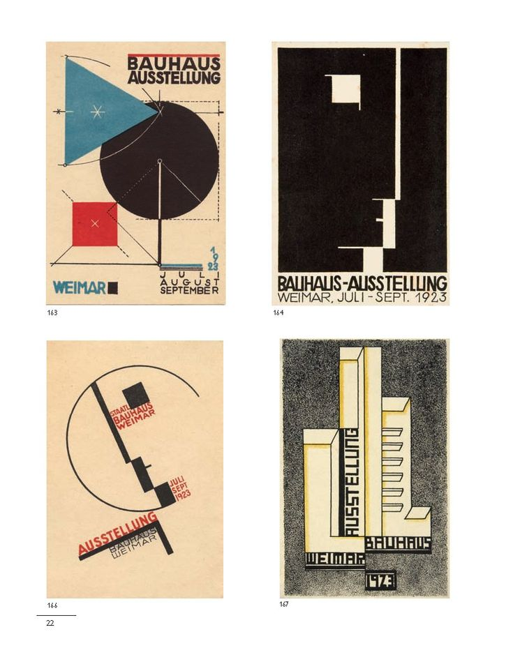 Bauhaus-Postkarten   Bauhaus postcards, 1923  Bayer: Dreieck, Kreis, Quadrat. Variationen Bauhaussignet. Molnar: Budapest (167)