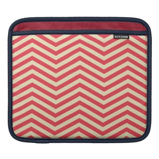 Red/Cream Chevron Pattern iPad Sleeve - One of the most chic, glamorous patterns for your devices. An elegant evergreen classic color combination that will simply live forever. Immune to time-changing trends, winning choice for her and also for him. Now available on my shop.