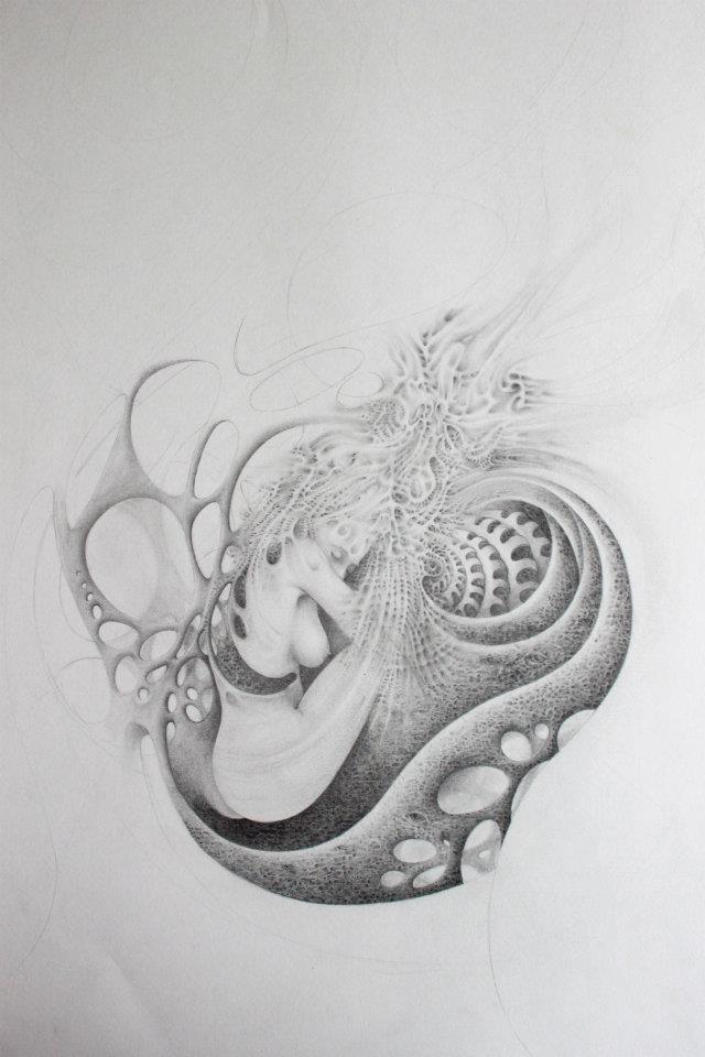 Vrouwelijke vorm, pentekening, natuur, organisch, fantasie, schelp - eigen werk van Marcel Bakker ontwerper bij Cascade visuele communicatie.