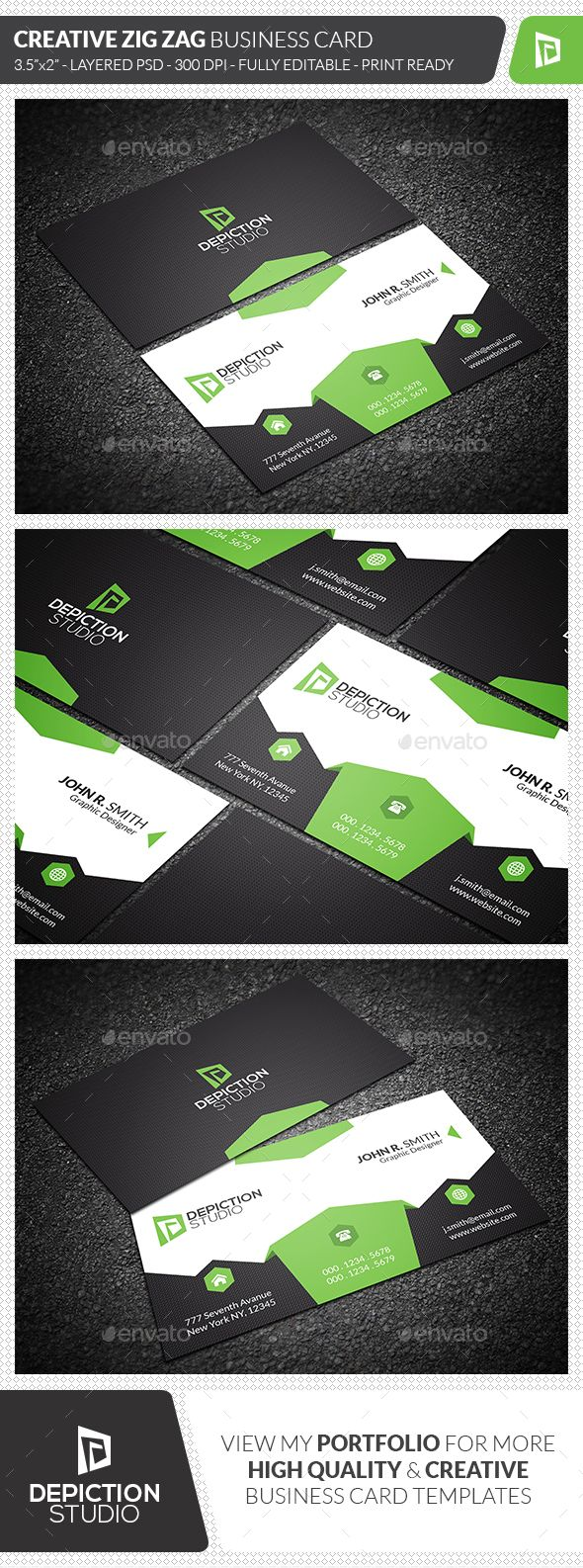 Creative Zig Zag Business Card Cleanses Creative And Template - 35 x2 business card template