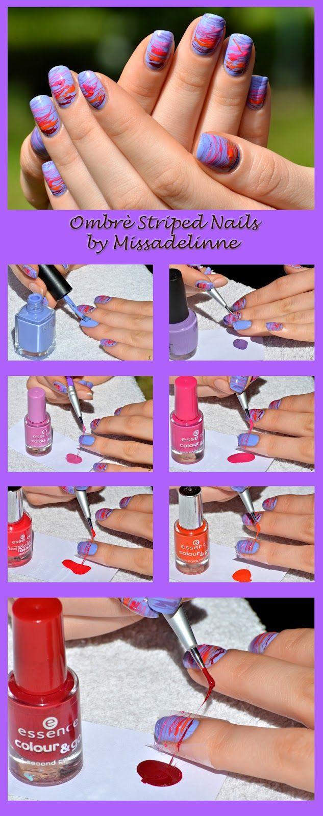 Ombrè Striped Nails: Ombre Stripes, Nails Nails, Nails Art, Ombré Stripes, Colour Nails, Stripes Nails, Ombrè Stripes, Step By Step, Art Tutorials