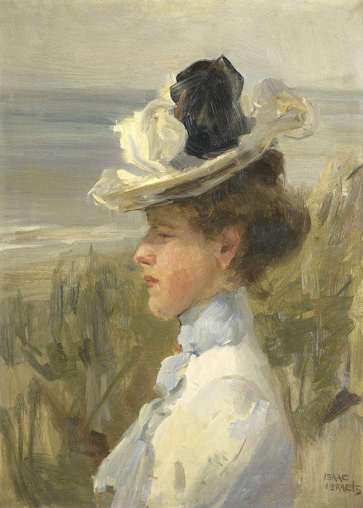 Jonge vrouw, uitkijkend over zee, Isaac Israels, c. 1895 - c. 1900