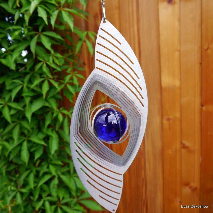 Windspiel Edelstahl XXL 30cm Durchmesser Windrad Glaskugeln Garten