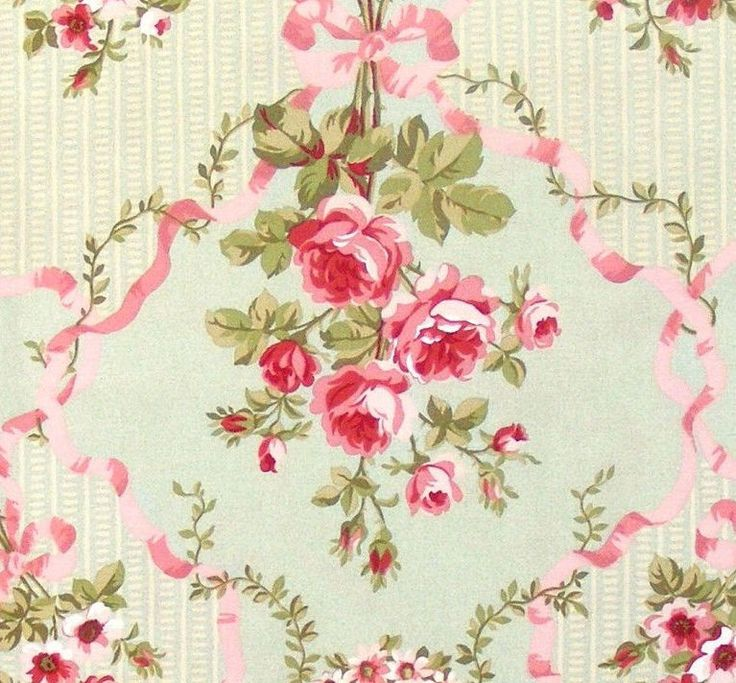 RARE Robyn Pandolph Fabric Shabby Chic Pink Roses Wild Rose Farm OOP