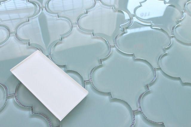 Jasper Blue Arabesque Glass Mosaic Tiles, 10 Square Feet mediterranean-mosaic-tile