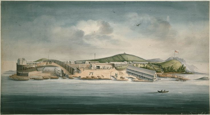 Macquarie Harbour Penal Station, depicted by convict artist William Buelow Gould, 1833