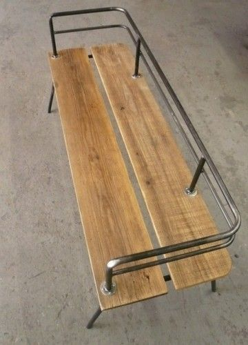 Awesome industrial bench from repurposed pieces. :)