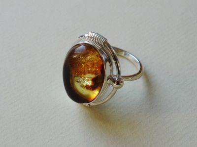 Sterling silver and Baltic amber ring Design&Handmade by K.Tokar