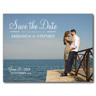 Sweet Beach & Coastal CUSTOM Wedding SAVE THE DATE Picture Photo Postcard  The white scroll writing is perfect and they're so easy to customize with an engagement picture. Great deal at only $1 each!!  #savethedate #wedding #postcard