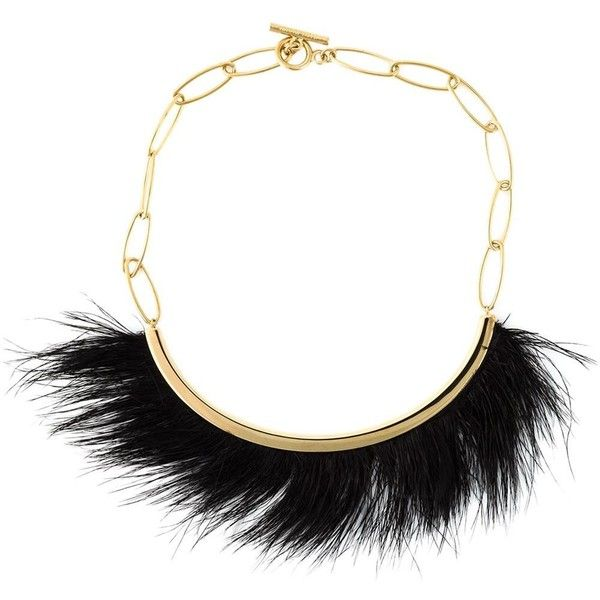 Isabel Marant 'Hairy' necklace ($550) ❤ liked on Polyvore featuring jewelry, necklaces, metallic, gold tone necklace, isabel marant, black and gold jewelry, feather necklace and feather jewelry