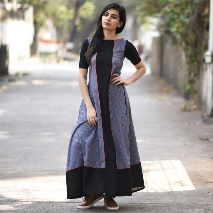 "This unusual number speaks class with every inch of fabric. Make this a part of your wardrobe for added chic and a higher glam quotient. Style Tip - This dress can be worn with colour sandals for a perky look. For a more subtle look, go for leather flats. This piece has been exclusively created for Rustorange by Nidhi Sharma. Size information (Garment Measurements): Small (S): Shoulder 13.5'', Bust 35'', Waist 33'', Length 53'', Sleeve Length 10""..."