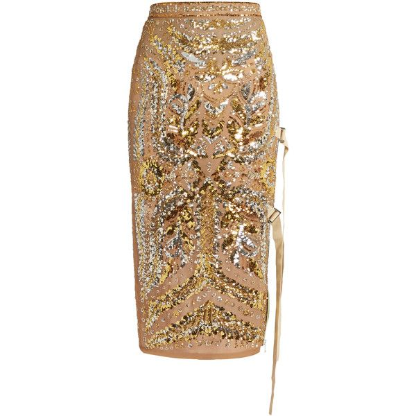 No. 21 Sequin-embellished pencil skirt ($2,494) ❤ liked on Polyvore featuring skirts, gold, panel pencil skirt, pencil skirt, slip skirt, embellished skirts and panel skirt