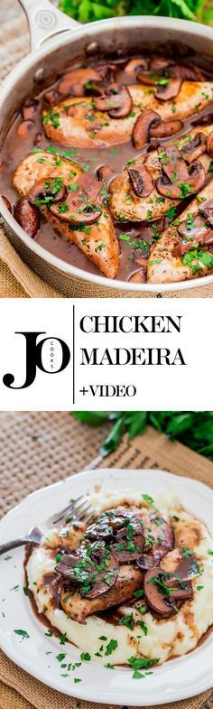 Chicken Madeira - tender chicken breasts in a rich peppery Madeira sauce with mushrooms and served over mashed potatoes. {Video}