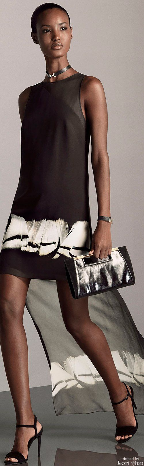 Short dark women dress. Cocktail clothing, purse.
