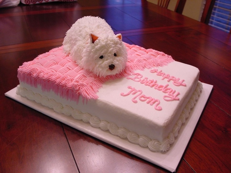 If you changed the ears this could easily pass for a Bichon Frise instead of a Westie cake.