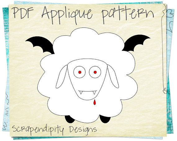 Vampire Sheep Fabric Applique Template - Halloween Applique Pattern / Gothic Shirt Design / Halloween Clothing Pattern / Sheep Shirt AP52-D