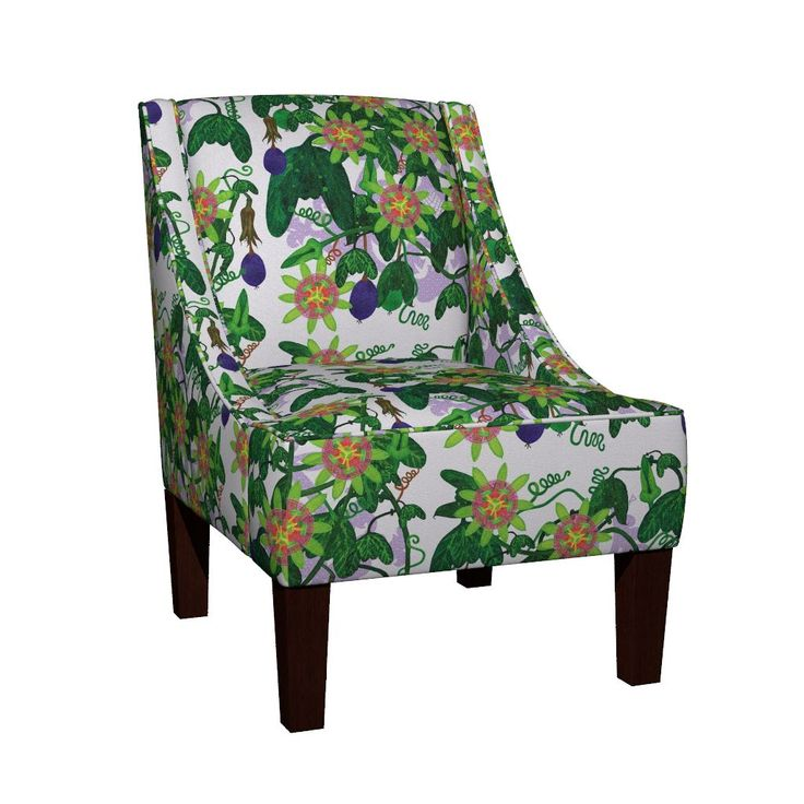 Venda Sloped Arm Chair featuring Passiflora mexicana by joancaronil | Roostery Home Decor