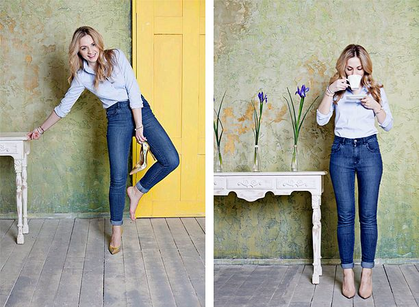 boysabouttrend | джинсы Zara, рубашка Uniqlo, золотые туфли Gianvito Rossi, бежевые туфли Theory