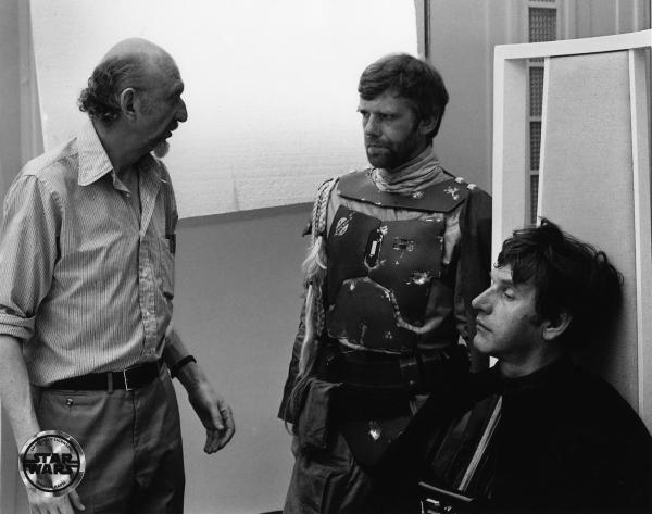 Empire Strikes Back director Irvin Kershner, hangin' with de-masked Boba Fett (Jeremy Bulloch) and Darth Vader (David Prowse)