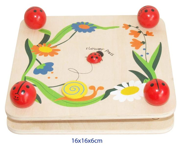 Wooden Ladybug Flower Press - $9.50 This cute wooden toy ladybug design flower press is the ideal accessory to allow children to be creative.  With four easy ladybug screws on each corner of the press, it is easy to flatten out flowers and then leave them to dry. The flower press comes with three thick pieces of cardboard to place the flowers between for drying.  Measures 16cmcm x 16cmcm 3yrs +