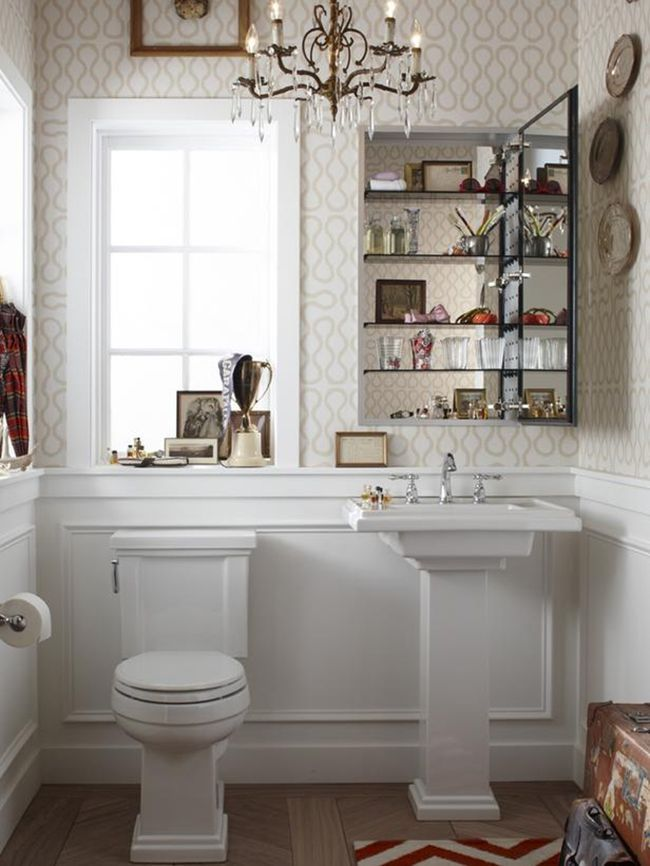 redoing bathroom%0A Tips for small bathrooms  wallpaper powder room  medicine cabinet  pedestal  sink like the toilet