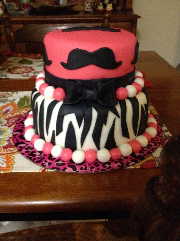 Mustache Cake Zebra Cake Got Pink And Black Cake Birthday