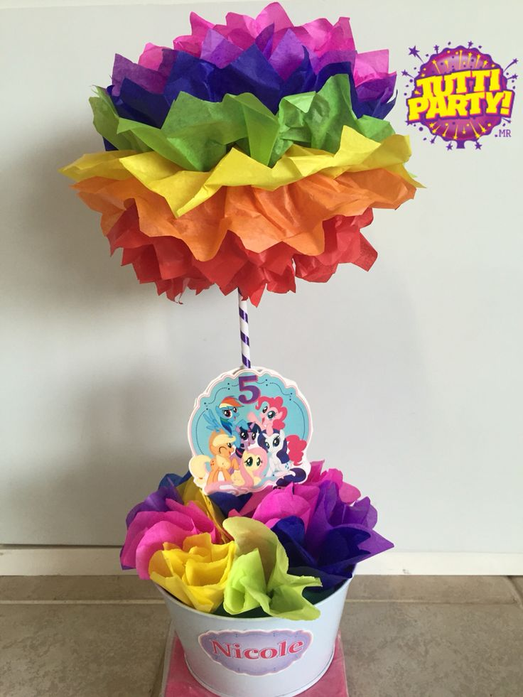 My little pony Party ideas, rainbow centerpieces, mi pequeño pony centros de mesa, center table pony