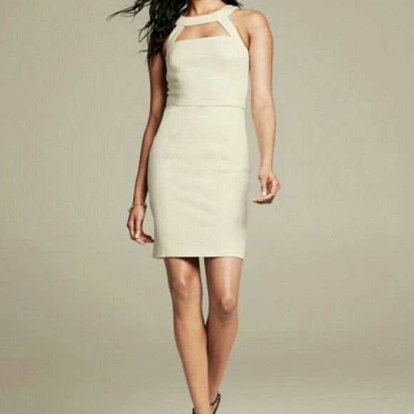 Banana Republic monogram Ponte cutout dress In a beautiful off white color. Dress as pictured on model. Bought in late 2014 and never worn. New with tags and no stains at all. Just needs to be ironed. This gorgeous stretchy dress is sold out on Banana republic's website so grab it now! Banana Republic Dresses