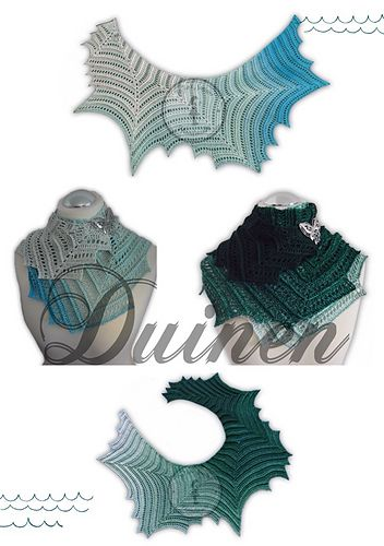 Duinen - free German crochet shawl pattern with chart by Jasmin Räsänen. English translation to follow.