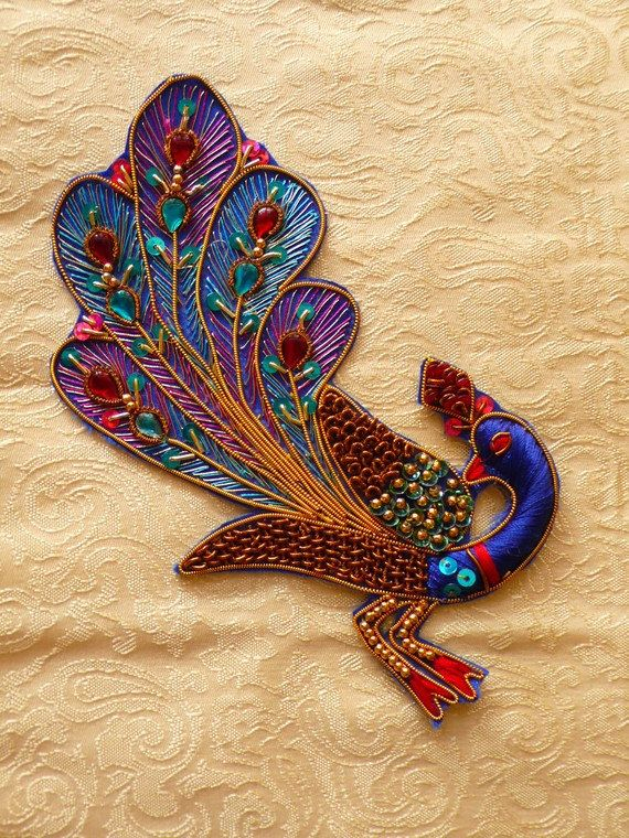 Peacock Big Applique  Beaded And Embroidered  Indian