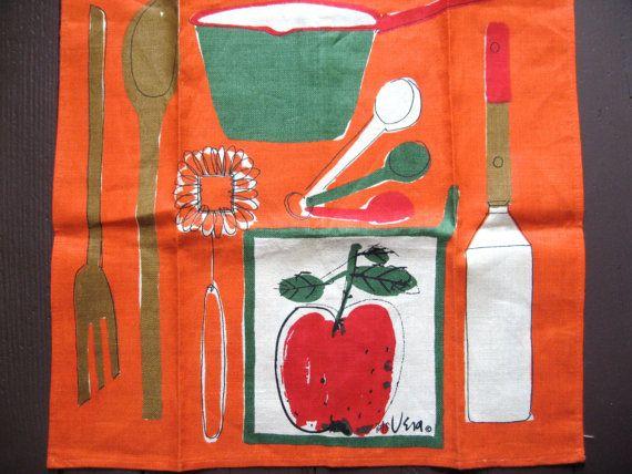 Fab Vtg Linen Kitchen Towel Vera Neumann By Fuzzandfu, $52.00