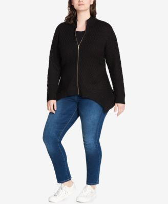 Tommy Hilfiger Plus Size Zip-Up Handkerchief-Hem Sweater, Created for Macy's - Black 3X