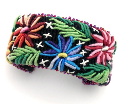 Guatemalan Textile Cuff Bracelet - a way to do small area of stumpwork