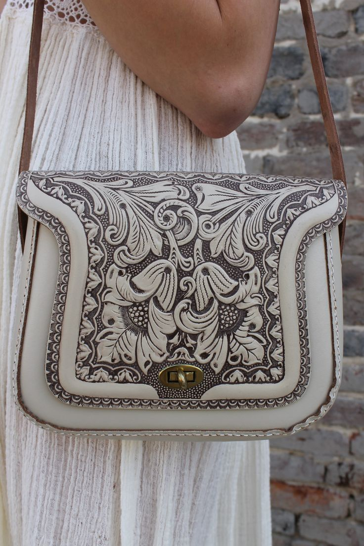 Rare Vintage 70's Cream Tooled Leather hippie boho purse. Oh my!