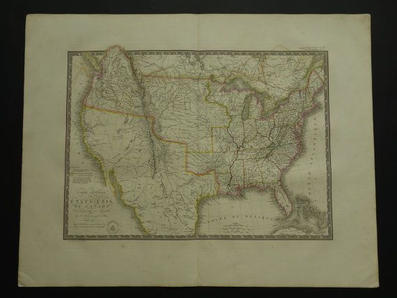 USA old map of the US 1825 LARGE original by DecorativePrints
