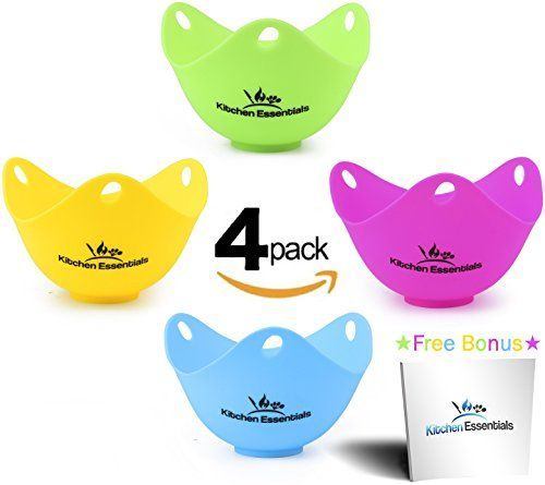 Silicone Egg Poacher Cups (4 Pack) - Large Premium BPA-Fr